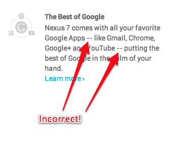 Double hyphens on Google's Nexus 7 product info page