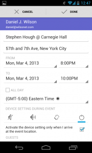Sound and vibrate settings for a smartphone during a calendar event.