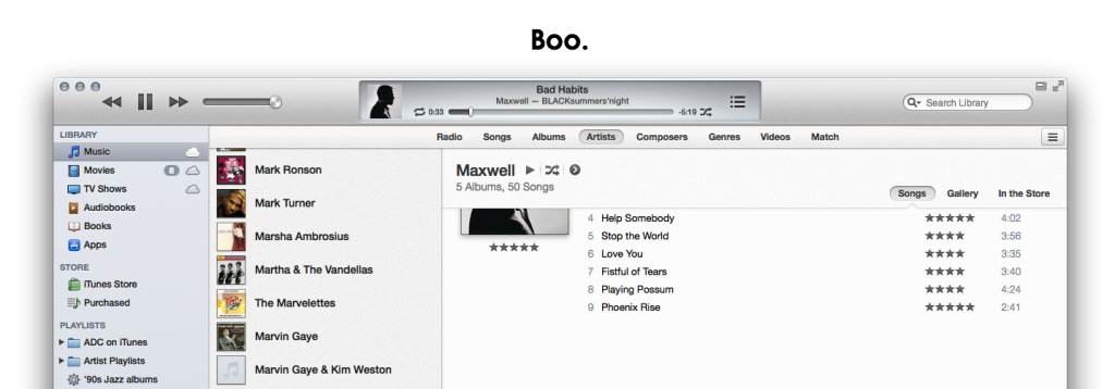 Current iTunes Artist view cover scrolling