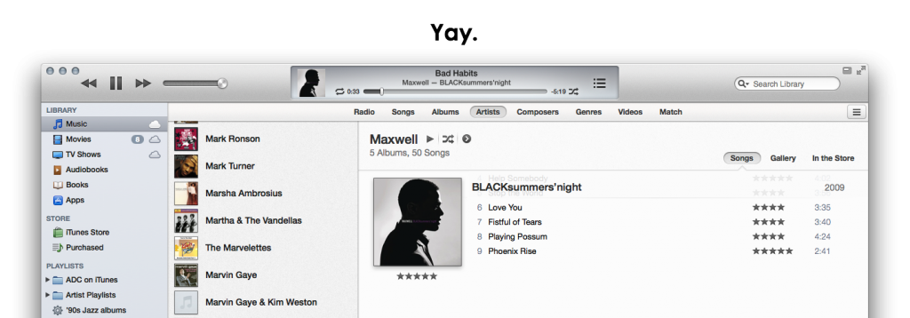 Suggested iTunes Artist view cover scrolling