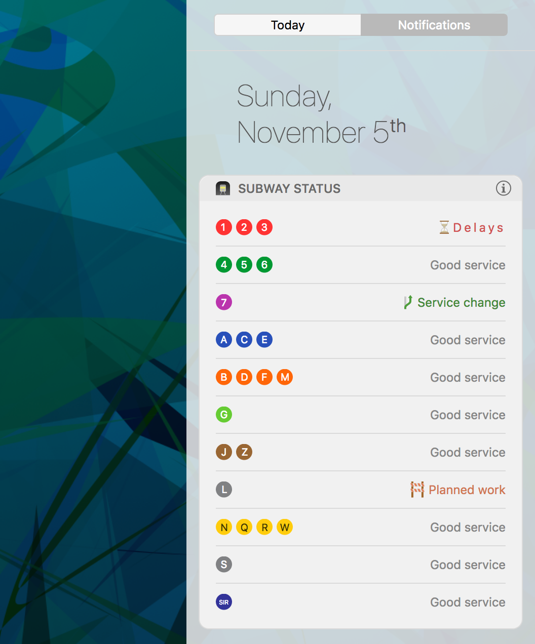 Subway status widget prototype screenshot