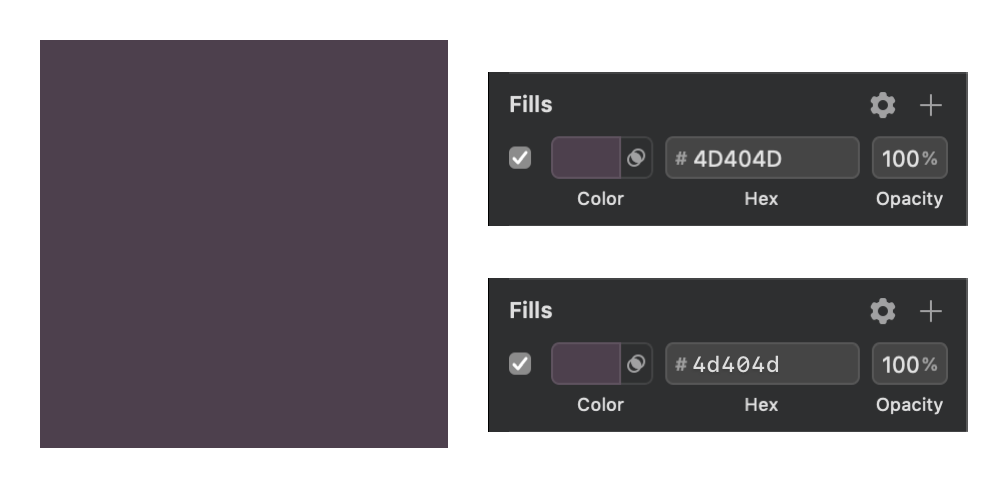First example comparing Sketch hex codes rendered in all upper case and in mixed case with typography enhancements